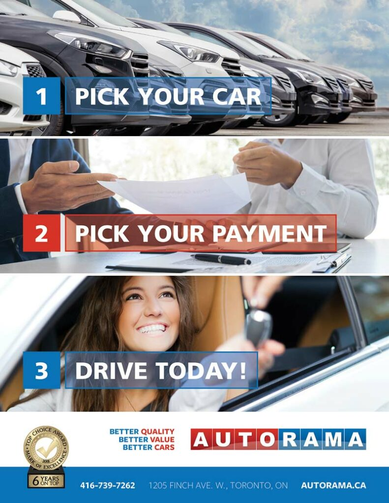 pick your car, pick your payment and drive today